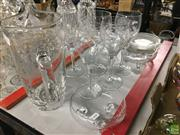 Sale 8685 - Lot 49 - Boab Tree Themed Jug with Other Glassware inc Wine Glasses (Chips on some pieces)