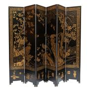 Sale 8703A - Lot 12 - A six panel folding oriental lacquered screen, with black gilt and lacquer decoration of birds amidst foliage, H x 238cm, each panel...