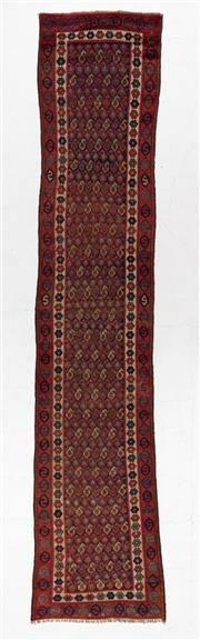 Sale 8780C - Lot 293 - An Antique Persian Shiraz 100% Wool Pile, 406 x 86cm