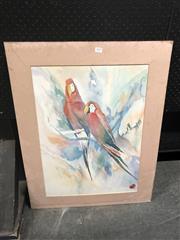 Sale 8784 - Lot 2079 - Watercolour Depicting Parrots