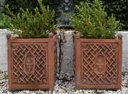 Sale 8950G - Lot 90 - A superb pair of European concrete pots 57cm Height 43cm x 43cm