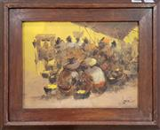 Sale 8978 - Lot 2080 - Artist Unknown Market Gathering 1975oil on canvas, 34 x 42cm (frame), signed and dated lower right