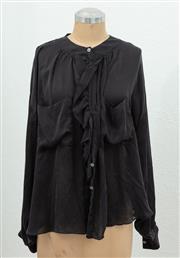 Sale 9066H - Lot 108 - An Arthur Galan ruffle neck button up shirt in black 100% silk, Size AUS 10
