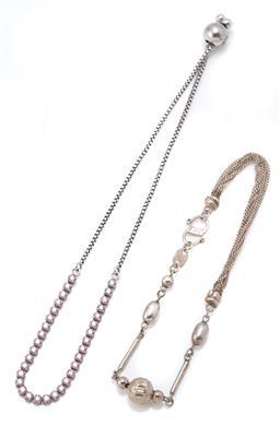 Sale 9107J - Lot 303 - A PANDORA SILVER SPARKLING SLIDER TENNIS BRACELET AND ANOTHER; rhodium plated silver Pandora bracelet set with white zirconias to sn...
