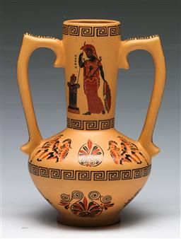 Sale 9153 - Lot 79 - A Greek twin handled vase H: 23cm
