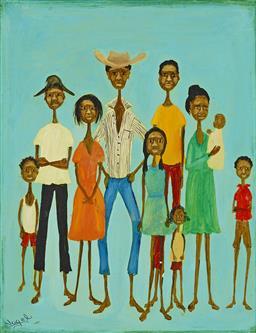 Sale 9161A - Lot 5044 - SUE NAGEL (1942 - ) - Aboriginal Family 24 x 19 cm (frame: 3 x 27 x 3 cm)