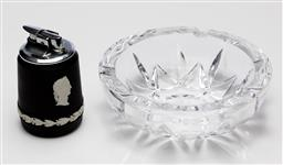 Sale 9245R - Lot 23 - A Wedgwood black and white portrait jasperware table top lighter Ht: 9cm, with a large lead crystal ash bowl, D: 15cm