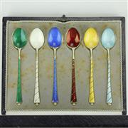 Sale 8314 - Lot 40 - Danish Sterling Silver & Harlequin Enamel Demi-Tasse Spoons
