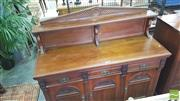 Sale 8402 - Lot 1095 - Late Victorian Aesthetic Walnut Sideboard with Low Shelf back with Three Doors and Three Drawers