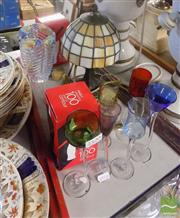 Sale 8470 - Lot 55 - Coloured Drinking Glasses With Glass Ware incl Coca Cola And A Small Leadlight Lamp