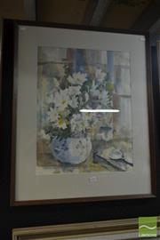 Sale 8537 - Lot 2050 - Artist Unknown - White Bouquet 56 x 43cm, frame size 78 x 63.5cm