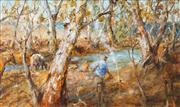 Sale 8549 - Lot 551 - Hugh Sawrey (1919 - 1999) - The Camp on the Culgoa River, S. West Queensland 60 x 99cm
