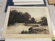 Sale 8552 - Lot 2082 - John Fullwood (1854 - 1931) Lake Scene, etching, 25 x 34.5cm signed lower left
