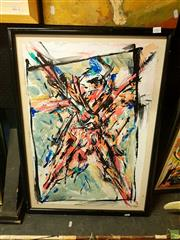 Sale 8627 - Lot 2082 - Gregory Barlow - Crossed Figure, 1987, mixed media on canvas on board, 71x 48cm, signed lower left