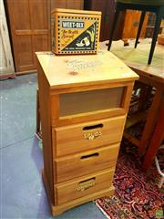 Sale 8648 - Lot 1015 - Timber Produce Lift Top Bin with Three Drawers