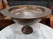 Sale 8724 - Lot 1083 - Beaten Brass Dish and Vase