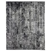 Sale 8912C - Lot 42 - Turkish Woven Tribal Chevron Design Carpet in Black/Silver/Ivory, 240x300cm, Wool & Bamboo Silk