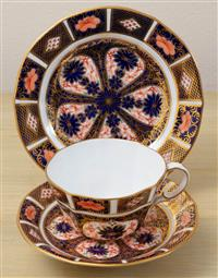 Sale 8963H - Lot 18 - A Royal Crown Derby Trio hand painted in the Imari or witches pattern
