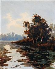 Sale 8992 - Lot 552 - Ernest William Christmas (1863 - 1918) - Duck Hunting On Calm Waters 27 x 30 cm (frame: 54 x 47 x 5 cm)