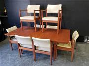Sale 9063 - Lot 1038 - Chiswell 9 Piece Dining Suite inc Extension Table and 8 Leather Upholstered Chairs (h:73 x w:138 x d:89cm)