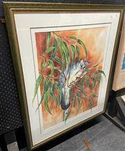 Sale 9058 - Lot 2055 - Jacki Belcastra, Australian Beauty, watercolour and gouache, frame: n98 x 81 cm, signed lower right