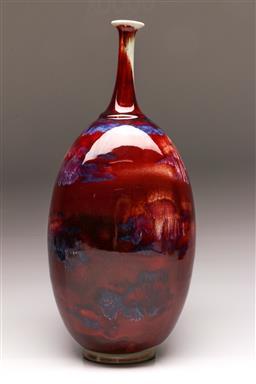 Sale 9122 - Lot 32 - Large Flambe Chinese Vase (H:51cm)