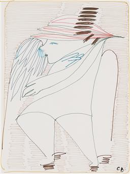 Sale 9221JM - Lot 5005 - CHARLES BLACKMAN (1928 - 2018) Angel coloured felt tip pen on paper 27 x 20 cm (frame: 42 x 35 x 2 cm) signed lower right