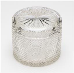Sale 9245R - Lot 24 - A good antique hand cut lead crystal biscuit barrel C: 1900, the rim of the lid decorated with fans, the body with finely peaked dia...