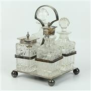 Sale 8412A - Lot 65 - Victorian Glass Cruet Set height - 18cm