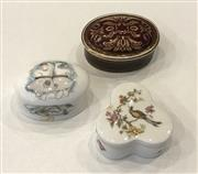 Sale 8436A - Lot 75 - Three porcelain pill boxes including two Royal Doulton and a Royal Worcester example.