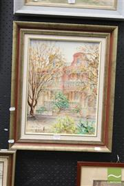 Sale 8468 - Lot 2008 - Essie Nangle (XX) Terrace Home, mixed media on board, 39.5 x 29.5cm, signed lower left