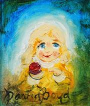 Sale 8549 - Lot 546 - David Boyd (1924 - 2011) - Girl with Apple 19.5 x 17.5cm