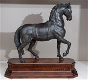 Sale 8782A - Lot 44 - Sforza, spelter figure of a horse on a wooden base, ex Theodore Alexander. Total height 55 cm x 55 cm.