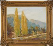 Sale 8903 - Lot 2057 - Dixon Copes (1914 - 2002) Poplars Along Country Track oil on canvas on board, 48 x 58.5cm, signed -