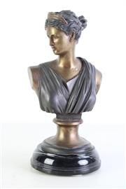 Sale 8957 - Lot 21 - A Cast Metal Bust of A Lady on Marble Base (H 35cm)