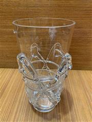 Sale 9022 - Lot 1031 - Unusual Tapered Studio Threaded Glass Vase (h:30cm)
