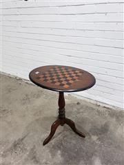 Sale 9068 - Lot 1076 - Late Victorian Pine Chess Table, with oval top & turned pedestal (h:71 x w:61 x d:45cm)