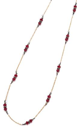 Sale 9145 - Lot 343 - AN 18CT GOLD BEAD NECKLACE; twisted Prince of Wales chain strung with pairs of faceted red glass beads to a bolt ring clasp, length...