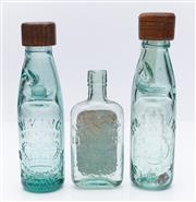 Sale 9080W - Lot 72 - A pair of W KIng and J Toohey green glass bottles with marble inclusions, together with a P S Wessel Courthouse Hotel Oxford St. Whi...