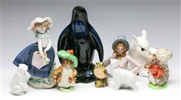 Sale 9173 - Lot 71 - A collection of ceramic animals inc Beswick and Nao together with a Lladro figure of a girl (H:20cm)