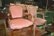 Sale 8331 - Lot 1051 - Two French Style Carver Chairs ( Almost Matching)
