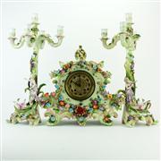 Sale 8387 - Lot 47 - French Porcelain Clock Garniture Set
