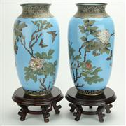 Sale 8393B - Lot 71 - Cloisonne Sky Blue Pair of Vases on Stands