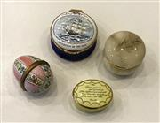 Sale 8436A - Lot 6 - Four various pill boxes including alabaster, Bilston and Battersea enamel and Crummles enamel.