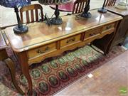 Sale 8532 - Lot 1047 - Timber Hall Table with Glass Top & Four Drawers on Cabriole Legs
