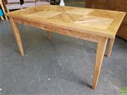 Sale 8601 - Lot 1127 - Parquetry Oak Dining Table (H: 75 L: 150 W: 80cm)