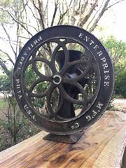 Sale 8706A - Lot 72 - An antique cast iron use enterprise coffee grinder, general wear, surface rust, wheel seized, no handle, H 53 x D 49cm
