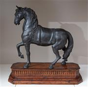 Sale 8782A - Lot 46 - Sforza, spelter figure of a horse on a wooden base, ex Theodore Alexander 55 cm x 55 cm.