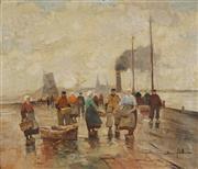 Sale 8892 - Lot 554 - Bruno Juttner (1880 - 1965) - Dutch Fishing Port 67 x 78.5 cm