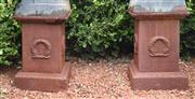 Sale 8950G - Lot 93 - Pair of cast iron plinths 50cm Height 35cm x 35cm